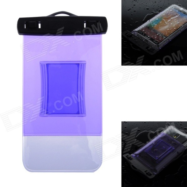 WP-02 Waterproof Bag Case w/ Strap / Armband for Samsung Galaxy Note 2 / Note 3 - Translucent Purple