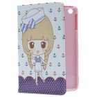 Cute Girl Pattern PU Protective Case w/ Stand for IPAD MINI 2 - White + Purple + Multi-color