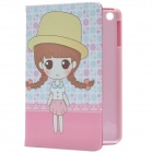Cute Girl Pattern PU Protective Case w/ Stand for IPAD MINI 2 - Pink + Brown + Multi-color