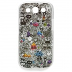 """Find Something"" Pattern Protective TPU Back Case for Samsung Galaxy S3 i9300 - Grey + Black"