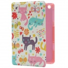 Animal Paradise Style PU Leather Protective Case w/ Stand for IPAD MINI 2 - Red + Beige