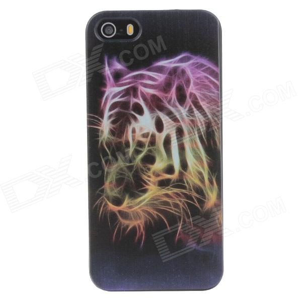 Stylish Colored Drawing Tiger Pattern Phone Case Cover for IPHONE 5 / 5S - Black + Purple + Yellow