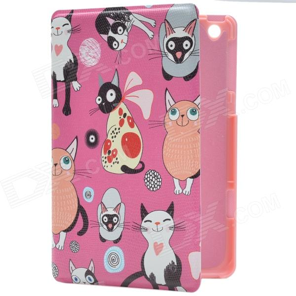 Little Cats of Various Style PU Leather Protective Case w/ Stand for IPAD MINI 2 - Deep Pink briefcase style protective pu leather stand case w dormancy function for ipad mini pink
