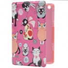 Little Cats of Various Style PU Leather Protective Case w/ Stand for IPAD MINI 2 - Deep Pink