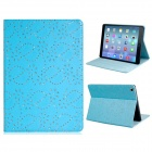 Sequins Floral Print Protective PU Leather Case Cover Stand for IPAD AIR - Blue