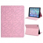 Sequins Floral Print Protective PU Leather Case Cover Stand for IPAD AIR - Pink
