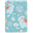 Fat Cat Couple PU Leather Protective Case w/ Stand for IPAD MINI 2 - Light Blue + Multi-color