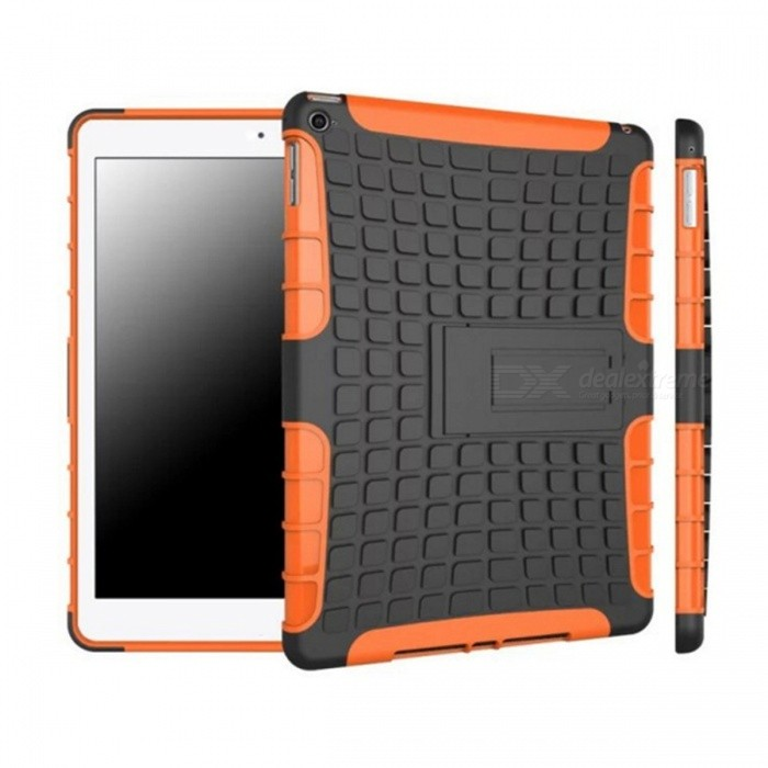 2-in-1 Protective TPU + PC Back Case w/ Stand for IPAD AIR - Black + Orange tyre tread style protective tpu pc back case w stand for retina ipad mini black