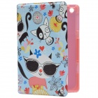 Various Little Kitten Pattern PU Protective Case w/  Stand for IPAD MINI - Sky Blue