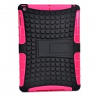 2-in-1 Protective TPU + PC Back Case w/ Stand for IPAD AIR - Black + Deep Pink