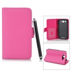 Protective PU Leather + ABS Case w/ Stylus Pen for Samsung Galaxy S3 i9300 - Deep Pink