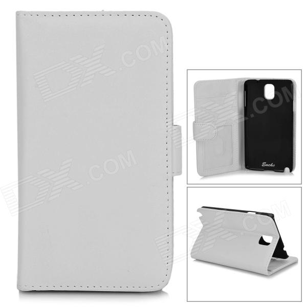 Protective PU Leather Case for Samsung Galaxy Note 3 N9006 / N9000 / N9002 - White + Black protective leather case screen protectors for samsung galaxy note i9220 gt n7000