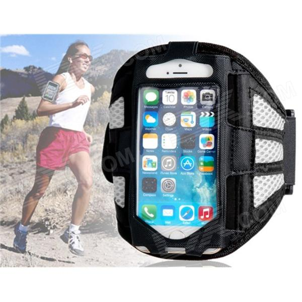 Protective Mesh Sports Armband for IPHONE 5 / 5S - White + Black