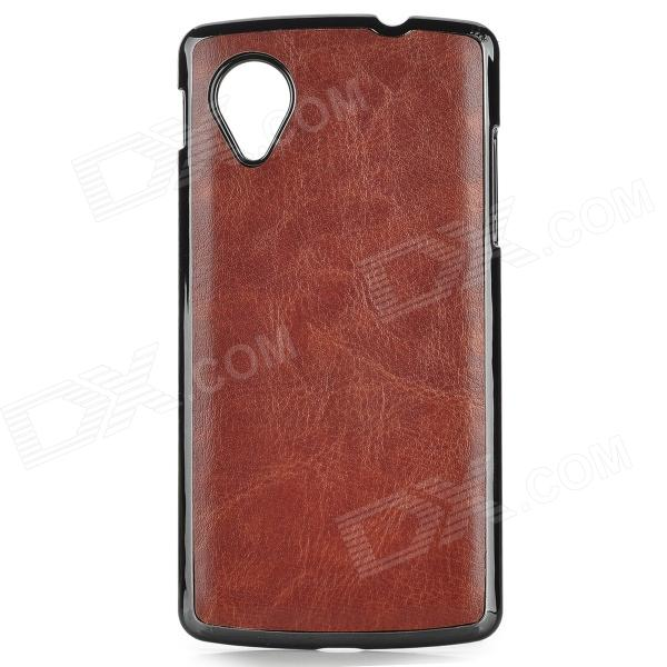 Protective PU + ABS Back Case for LG Nexus 5 - Brown protective silicone back case for lg nexus 5 red