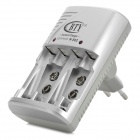 BTY N-802 AA / AAA / 6F22 Ni-MH / Ni-Cd Battery Charger - Grey + Silver