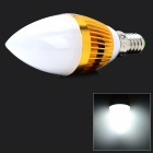 JRLED Dimmable E14 3W 210lm 6300K 3-LED White Light Candle Lamp Bulb - White + Golden (220V)