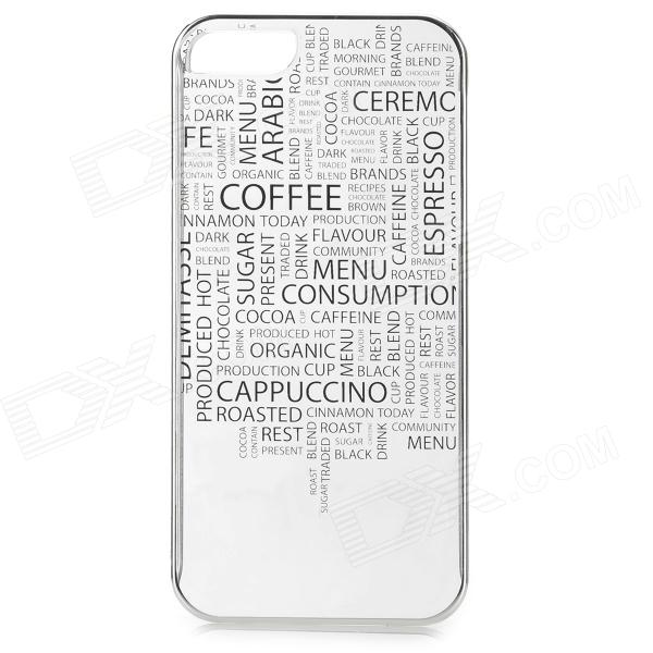 Laser Etsing Engelsk Word Pattern Plastic Back Case for IPHONE 5 / 5s - Sølv