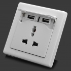 Universal Dual USB 10A 2500W 2-Outlet Power UK Plug Wall Socket - White (220V)