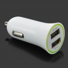 Mini Car Cigarette Powered Charging Adapter Charger w/ Dual USB for Cell Phone - White (12~24V)