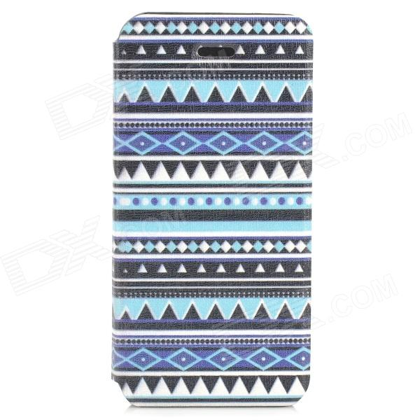 Tribal Ethnic Style Protective PU Leather Case for IPHONE 5S - Blue + Black + White tribal ethnic style protective pu leather plastic case for iphone 5 deep pink black white