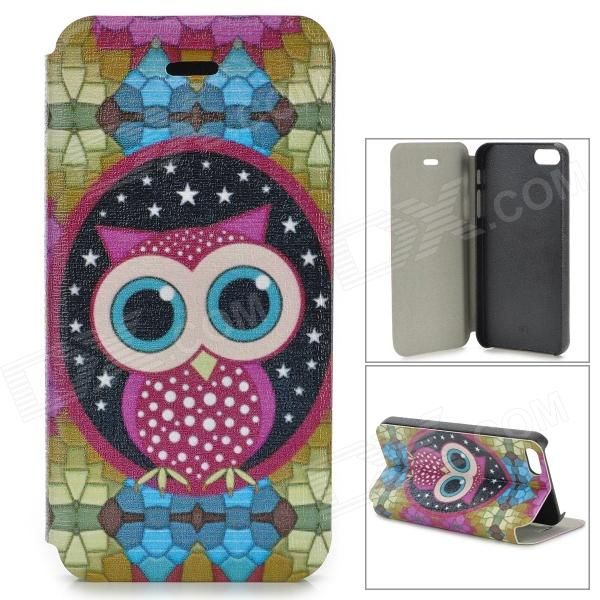 Cute Owl Pattern PU Leather Case for IPHONE 5 / 5S - White + Light Green + Multi-Colored for iphone 7 plus pattern printing light spot decor leather wallet case with lanyard cute cow