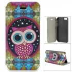 Cute Owl Pattern PU Leather Case for IPHONE 5 / 5S - White + Light Green + Multi-Colored