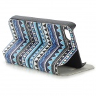 Fashion Tribal Style PU Leather Case for IPHONE 4 / 4S - White + Light Blue + Multi-Colored
