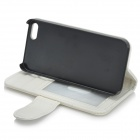 Protective PU Leather Case w/ Card Slot + Stylus for IPHONE 5 / 5s - White