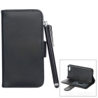 Protective PU Leather Case w/ Card Holder Slots / Stylus Pen for IPHONE 5 / 5S - Black