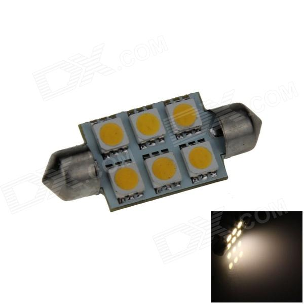 Festoon 39mm 0.5W 60lm 6 x SMD 5050 LED Warm White Light Car Reading / Indicator / Roof Lamp - (12V) lx 3w 250lm 6500k white light 5050 smd led car reading lamp w lens electrodeless input 12 13 6v