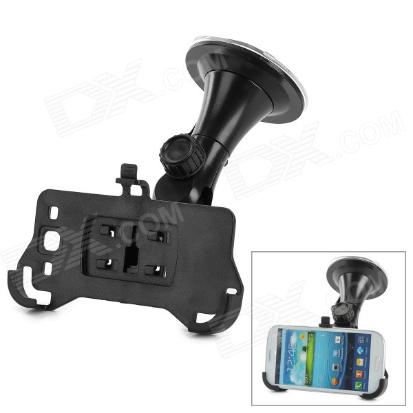 3-in-1 Car Suction Cup Holder w/ Car Charger + Charging Data Cable Set for Samsung i9300 - Black dji spark drone 3 in 1 car charger battery charging