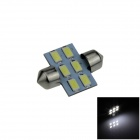 Festoon 31mm 3W 300lm 6-SMD 5630 LED White Car Reading Light / License Plate Lamp / Dome Bulb (12V)