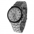 BADACE 9906 Men's Fashion Stainless Steel Band Quartz Analog Wrist Watch w / 3 Decorative Sub-dial