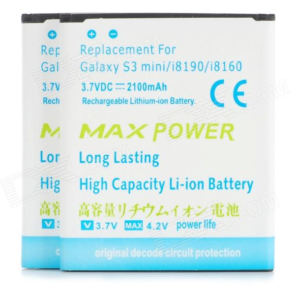 2100mAh Rechargeable Lithium Battery for Samsung Galaxy S3 Mini i8190 / i8160 - White + Blue (2 PCS) mallper mp i8160 3 7v 1275mah replacement li ion battery for samsung i8160 i8190 s3 mini