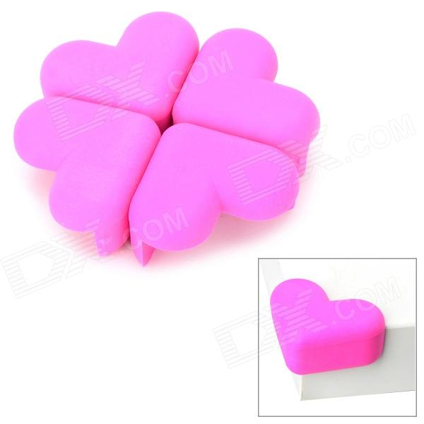 Heart-Shape Soft Silicone Desk Guard Bumper Against Collision - Pink (4 PCS) 2pcs stainless steel corner brackets straight flat bracket for furniture corner protector furniture fittings furniture hardware