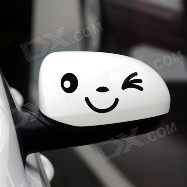 A139 Smile Face Car Rearview Stickers - Black (Pair)
