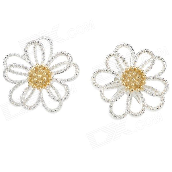 Flower Pattern Zinc Alloy Ear Bud - Golden + Silver (Pair) фанатская атрибутика other nba exclusive collection logo