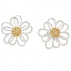 Flower Pattern Zinc Alloy Ear Bud - Golden + Silver (Pair)