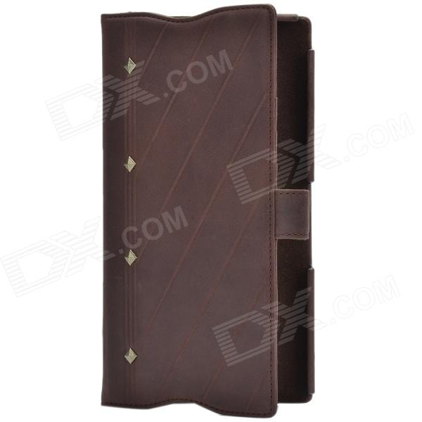 Zenus Retro Twill Style Ultra-thin Head Layer Cowhide Case for Sony Xperia Z L36h - Deep Brown смартфон sony xperia xa1 ultra dual