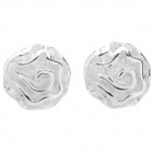 925 Silver Plating Rose Shaped Ear Studs (Pair)
