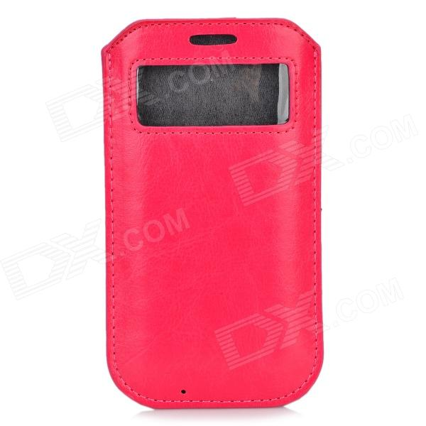 Protective PU Leather Pouch Case w/ Display Window for Samsung Galaxy S4 i9500 - Deep Pink