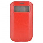 Protective PU Leather Pouch Case w/ Display Window for Samsung Galaxy S4 i9500 - Red