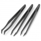 Elbow / Flat / Sharp Tip Plastic Anti Static Tweezers - Black (3 PCS)