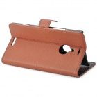 Beskyttende Flip-open PU Leather Case for Nokia 1520 - Brun