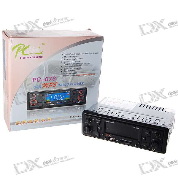 "In-Dash Stereo 2.9"" LCD SDHC/SD MP3 Player + AM/FM Radio with USB Host"