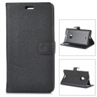 Protective PU Leather Flip-Open Case w/ Stand / Card Slots for Nokia 1520 - Black
