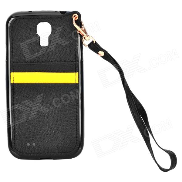 Protective PU Leather + Silicone Case w/ Card Holder Slots / Hand Strap for Samsung S4 i9500 - Black