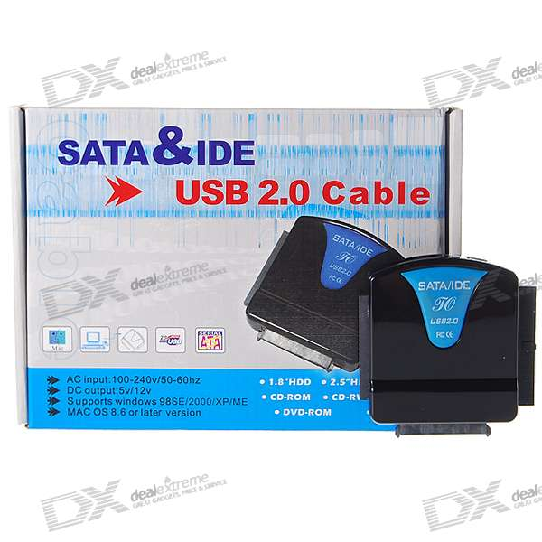 "SATA/IDE to USB 2.0 Adapter Converter with AC Power Adapter for 2.5/3.5/5.25"" Hard Drive"