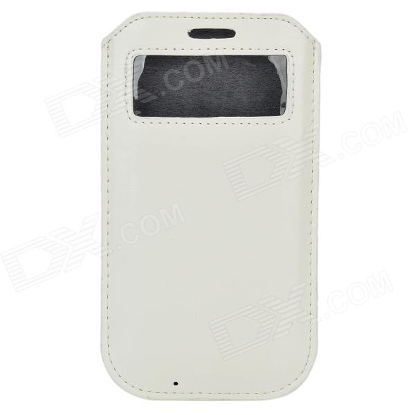 Protective PU Leather Pouch Case w/ Display Window for Samsung Galaxy S4 i9500 - White