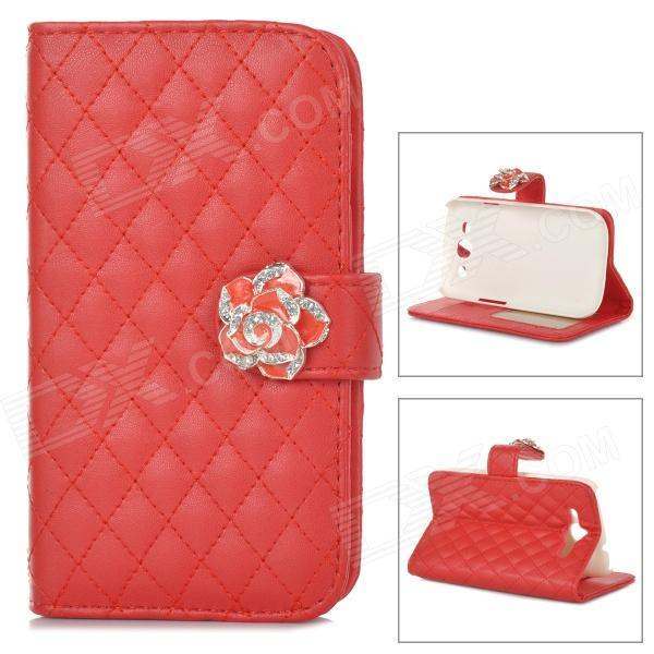 Flower Style Buckle PU Leather + Plastic Flip-Open Case w/ Card Slots for Samsung Galaxy S3 - Red statue of liberty pattern protective pu flip open case w strap card slots for samsung galaxy s5
